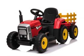 Red R/C Twin Motor Tractor & Trailer - 12V Kids' Electric Ride On